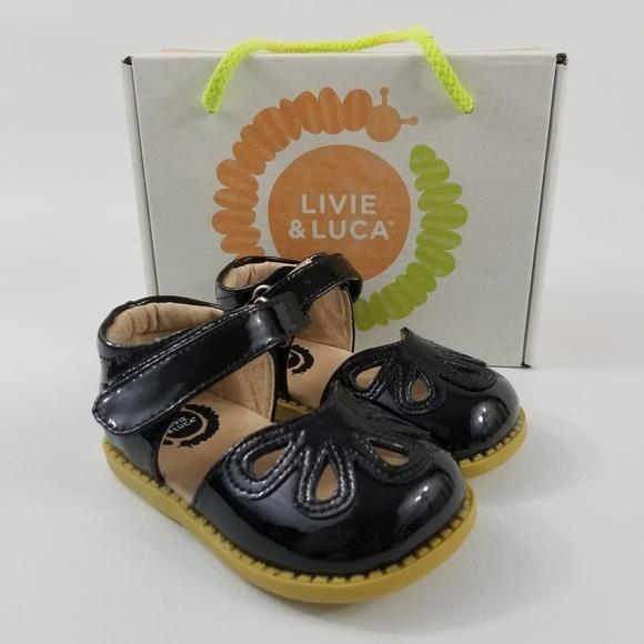 Livie Luca 5 Petal Black Patent Mary